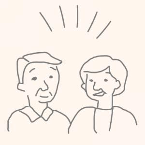 さいたま市の二世帯住宅でメリットを説明する夫婦のイラスト