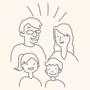 さいたま市の二世帯住宅でメリットを説明する家族のイラスト