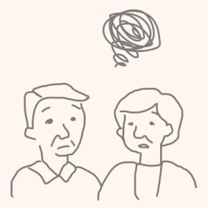 さいたま市の二世帯住宅で同居のデメリットを説明する夫婦のイラスト