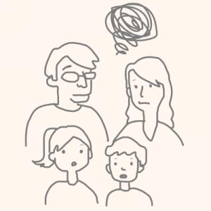 さいたま市の二世帯住宅で同居のデメリットを説明する家族のイラスト